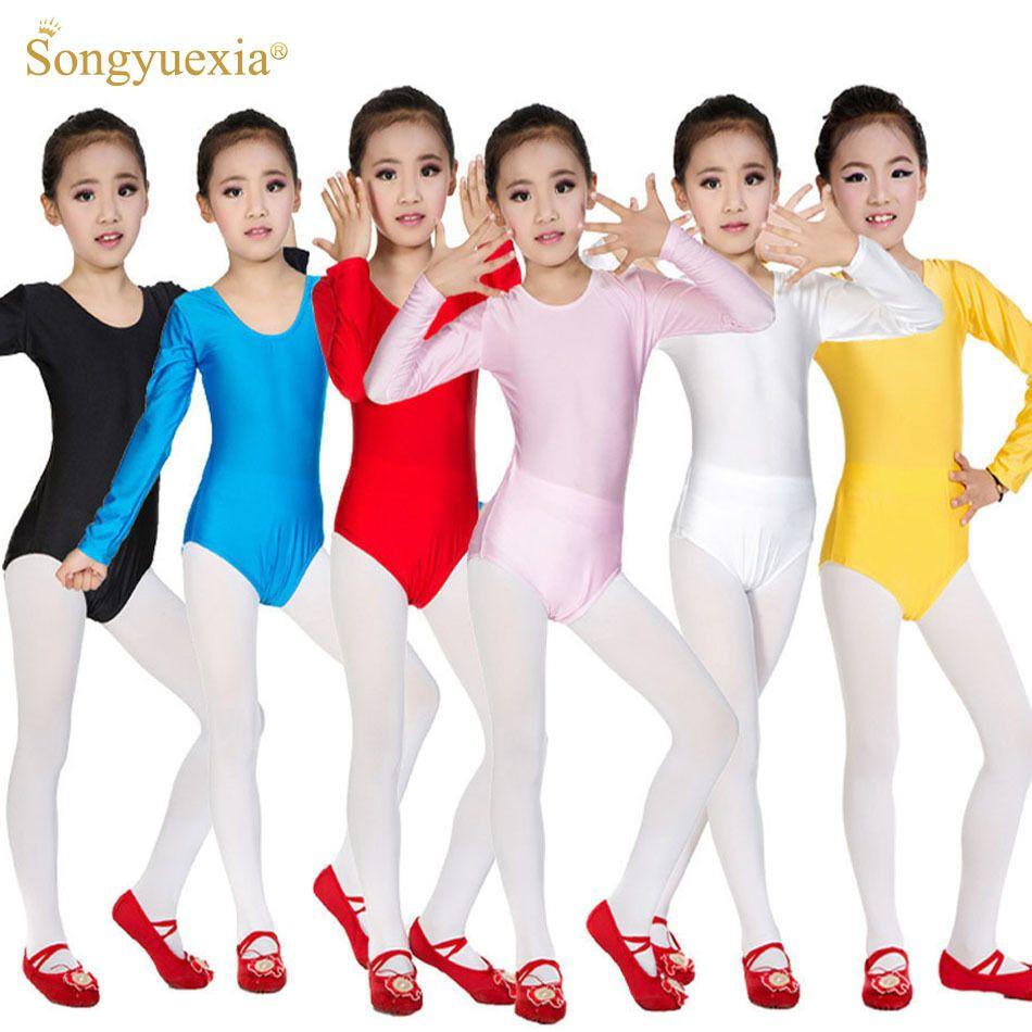 Remise à manches longues Spandex gymnastique justaucorps pour filles robe de Ballet vêtements enfants vêtements de danse Spandex Ballet robe de danse