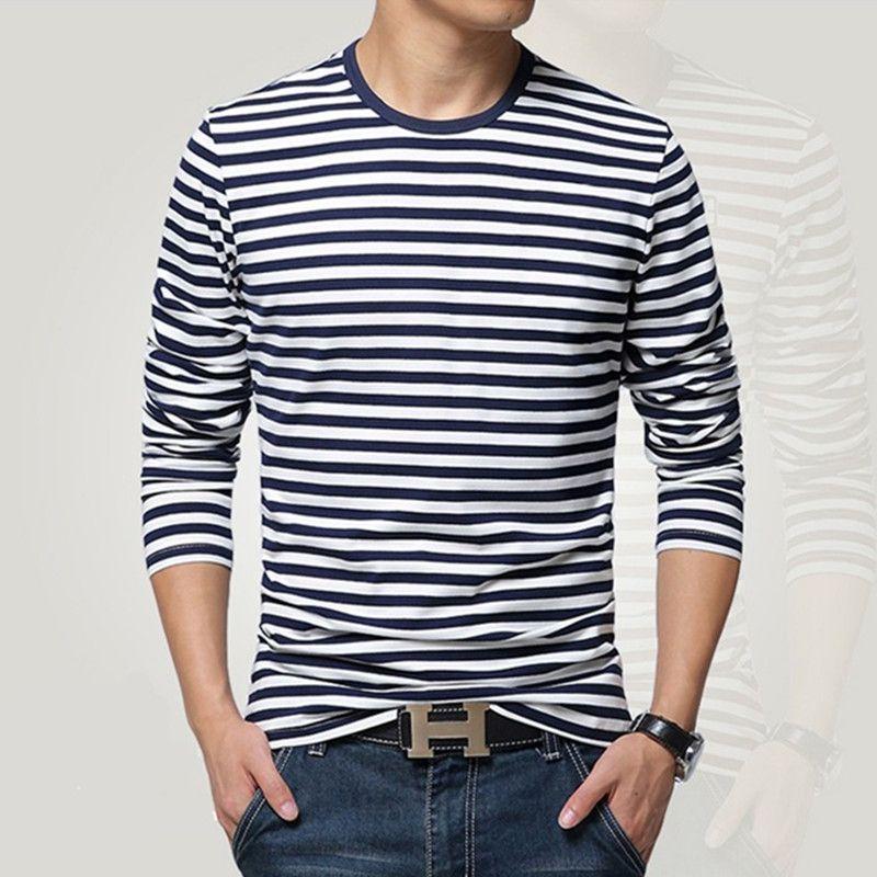 Chemise homme manches longues style marine T-shirt col rond rayure T-shirt homme chemise bleu marine vintage basique 95% coton chemise