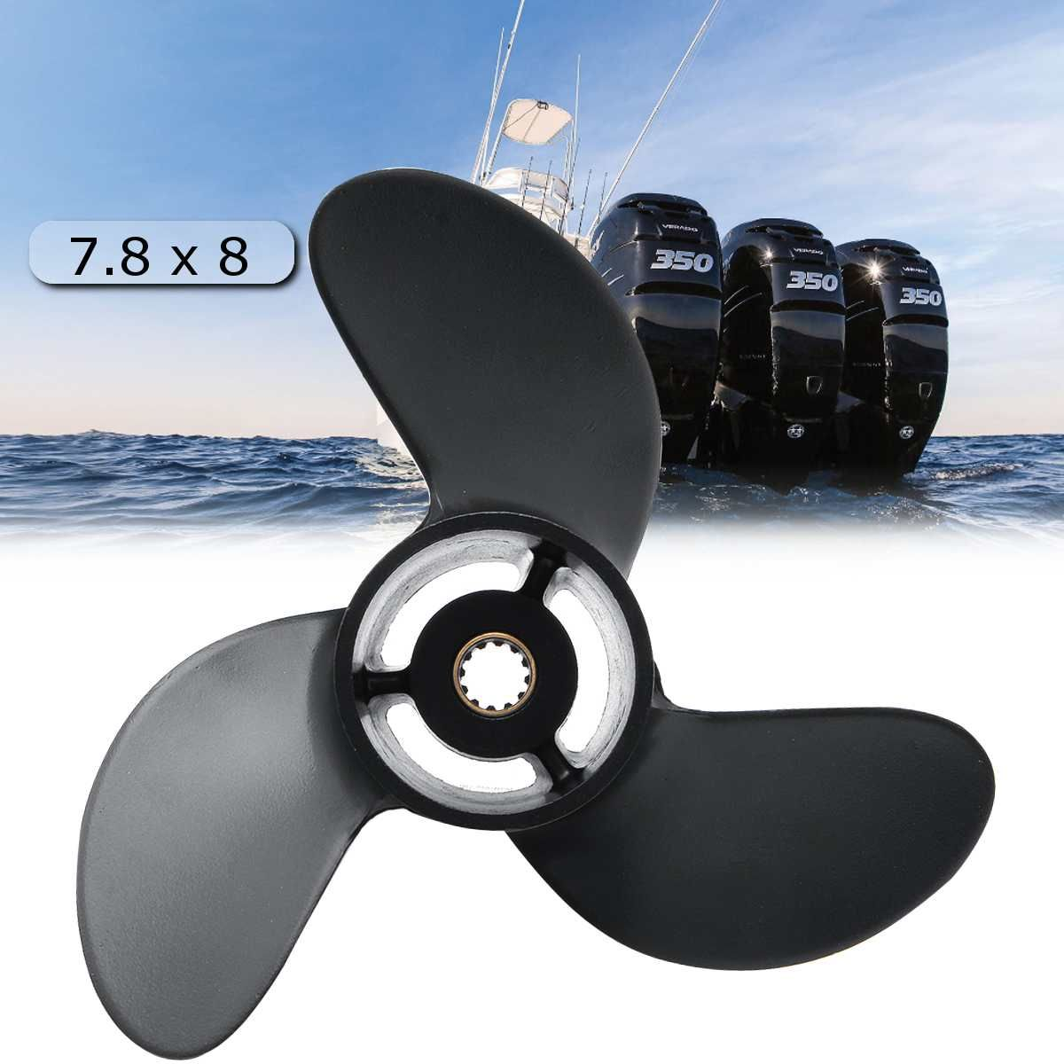 Outboard Propeller 3R1W64516-0 7.8 x 8 For Tohatsu Nissan-Mercury 4-6HP Black 3 Blades 12 Spline Tooth Aluminum Alloy R Rotation