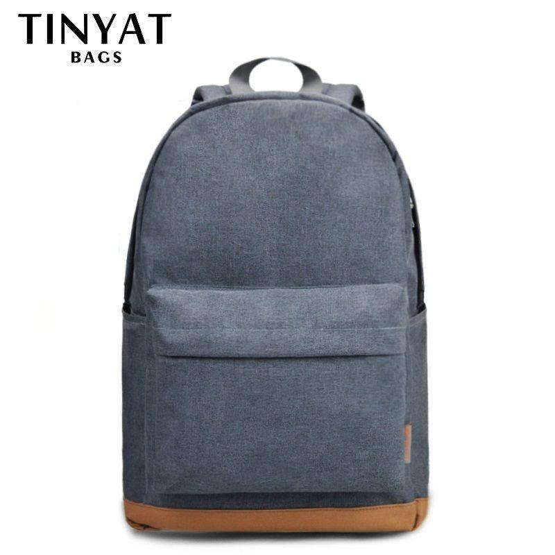 TINYAT Men's 15 inch laptop backpacks computer male <font><b>school</b></font> Backpacks Rucksacks leisure for teenage Travel Shoulder Mochila Grey