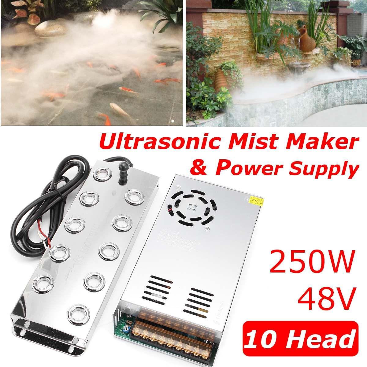Neueste 5000 ML/H 10 Kopf Ultraschall Nebel Maker Fogger Edelstahl Luftbefeuchter Gewächshaus Aeromist Hydrokultur + Transformator