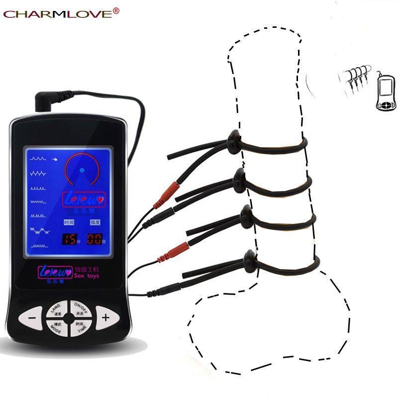 Nouveauté hôte Silicone choc électrique anneau de Massage Massage anneau de pénis jouets sexuels pour hommes jouets médicaux électro sexe