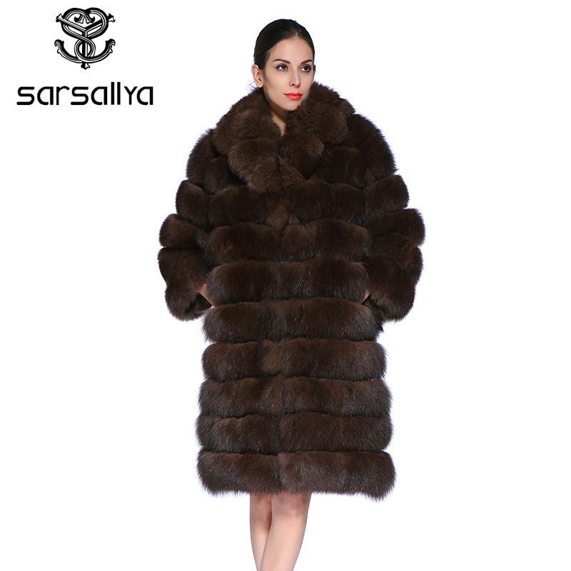 SARSALLYA Neue Mode Abnehmbare Ärmel Frauen Warme Echt Fuchs Pelz Mantel Kurze Winter Pelz Jacke Oberbekleidung Natürliche Blau Fuchs Pelz mantel