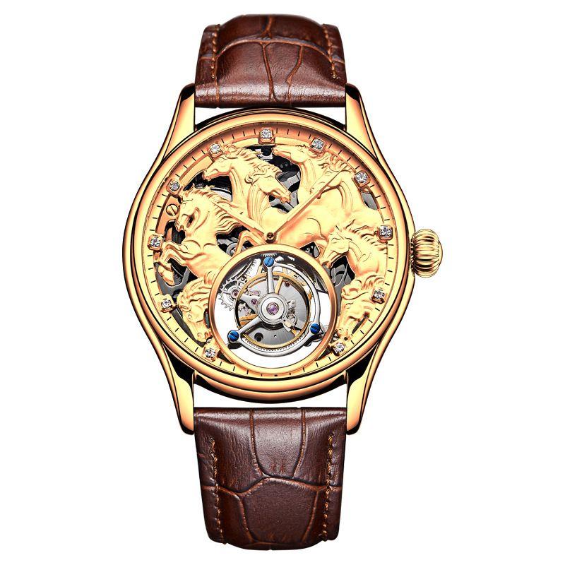 Angepasst Männer Armbanduhr High-end Tourbillon 24 K Gold herren Wasserdichte Uhr Automatische Mechanische Uhr