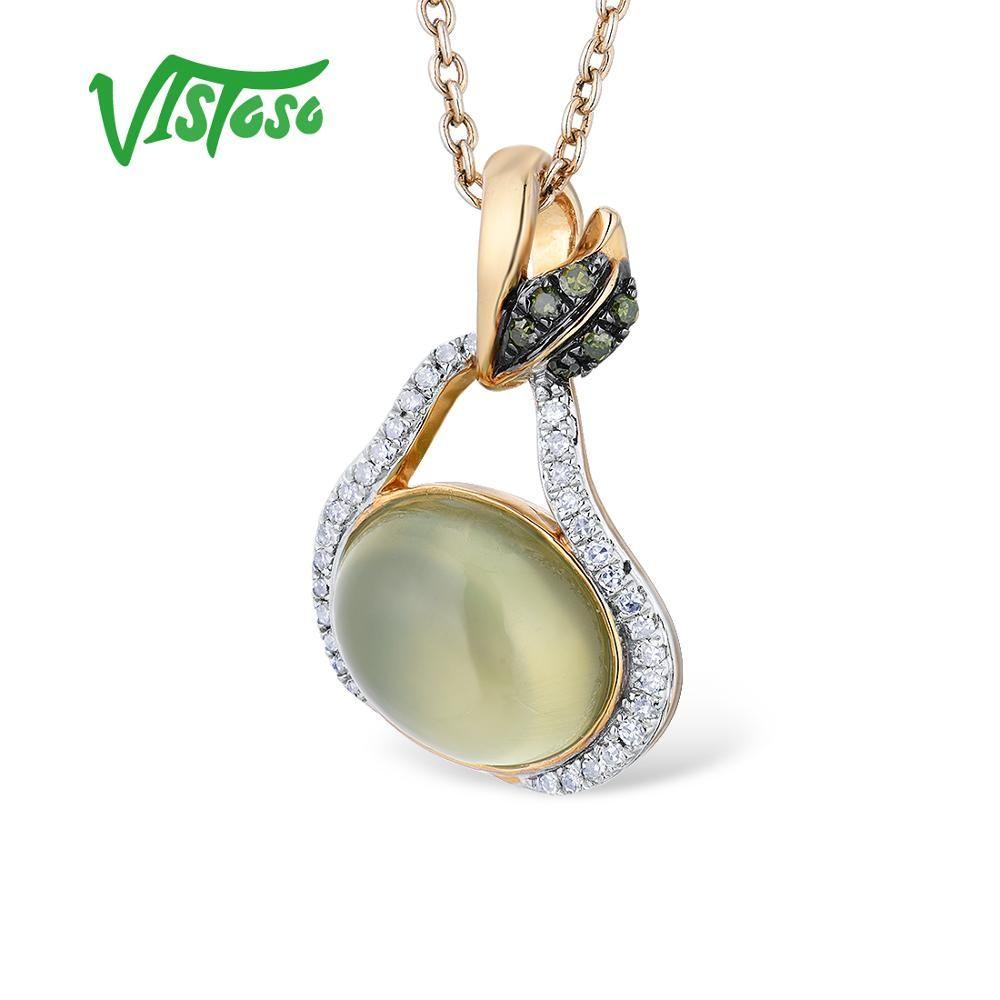 VISTOSO Gold Anhänger Für Frauen Echte 14K 585 Gelb Gold Grün Trauben Natürliche Prehnite Funkelnden Diamant Hochzeit Edlen Schmuck