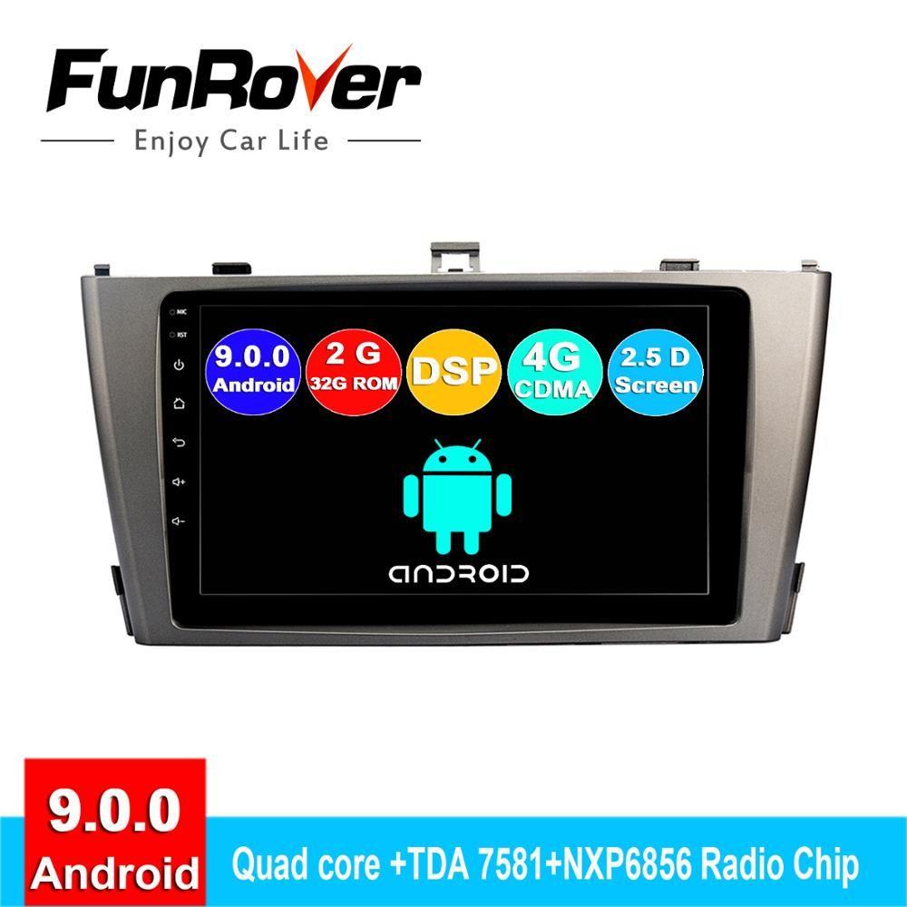 FUNROVER android 9.0 2.5D + IPS auto dvd-multimedia-player Für Toyota Avensis 2009-2013 radio gps navigation navi autoradio DSP RDS