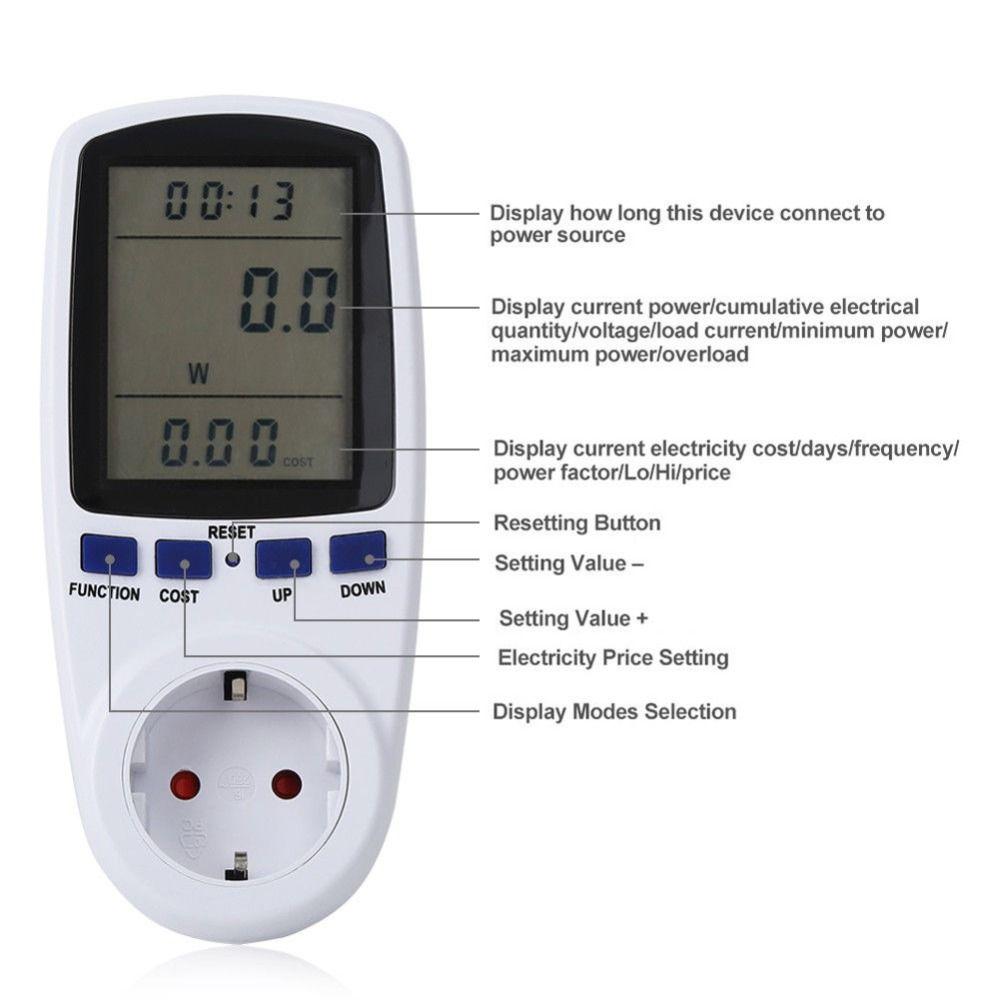 EU Digital Wattmeter Power Meter Energy Meter Voltage Wattmeter Power Analyzer Electronic Energy Meter Measuring Outlet Socket
