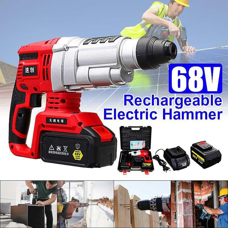 4 funktionen 68 V/88 V Elektrische Bürstenlosen Hammer Cordless Power Auswirkungen Bohrer mit Lithium-Batterie Power Bohrer Elektrische bohrer