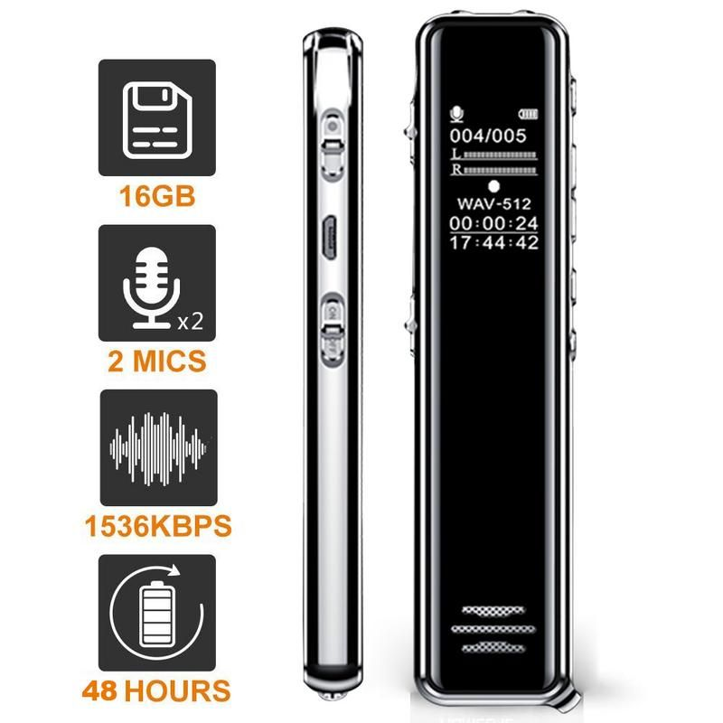 8 gb/16 gb Voice Recorder USB Professional 68 Stunden Diktiergerät Digital Audio Voice Recorder Mit WAV MP3 Player verlustfreie Player