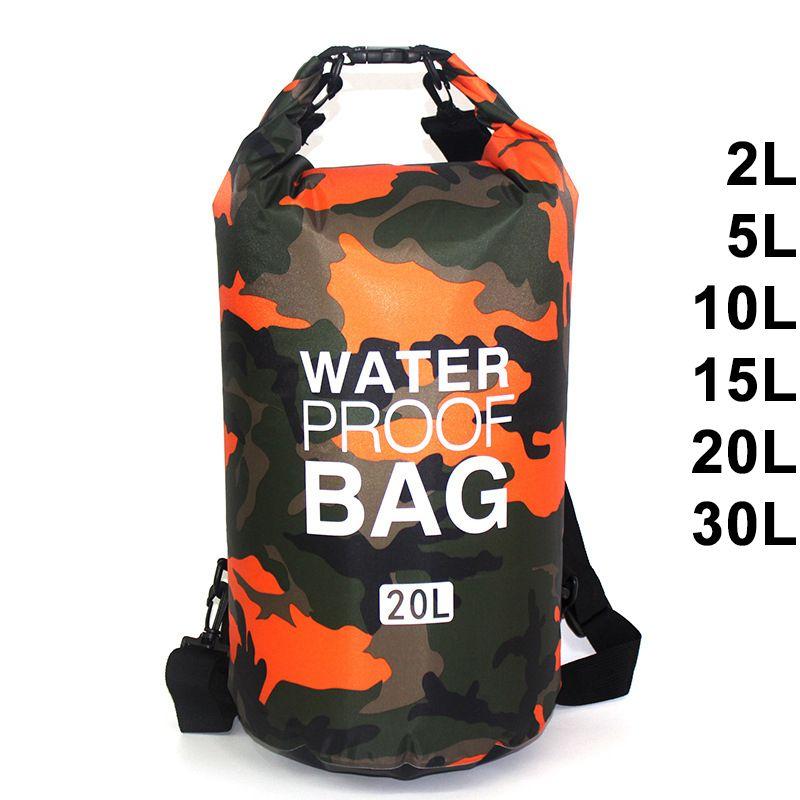 Sac de natation étanche sac sec couleurs de Camouflage pêche canotage kayak stockage dérive sac de Rafting 2L 5L 10L 15L 20L 30L