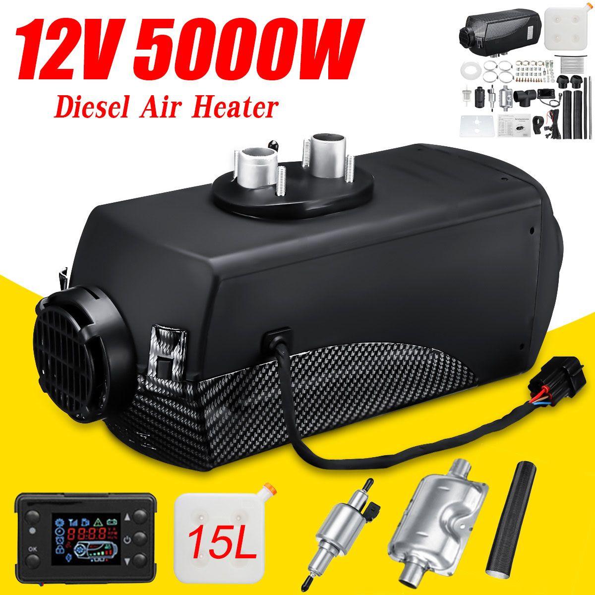 Car Heater 12V 5KW Auto Air Diesels Heater Parking Heater + 15L Tank + LCD Switch for Motorhome Caravan RV Truck Trailer Boat