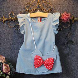 2019 Bayi Balita Demin Gaun Kasual Anak Solid Gaun Minnie Mouse Tanpa Lengan Tas Ruffles1-5Y
