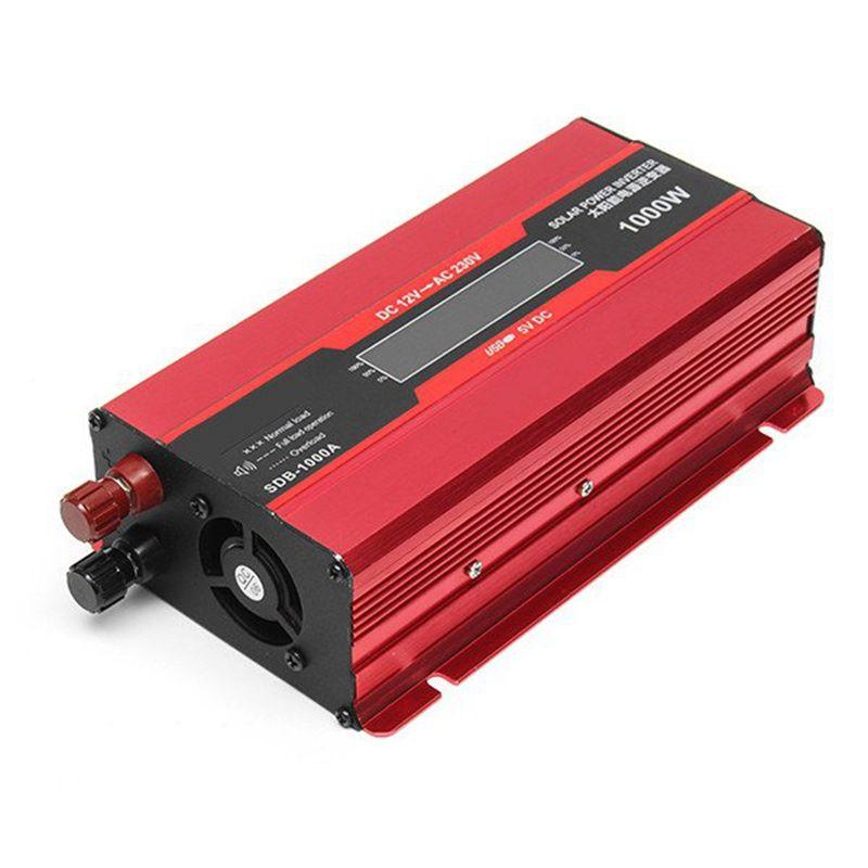 1000W Max LED Display DC 12V To AC 220V 50HZ Home Car Solar Power PV Inverter Converter USB Port Pure Sine Wave Power Supply
