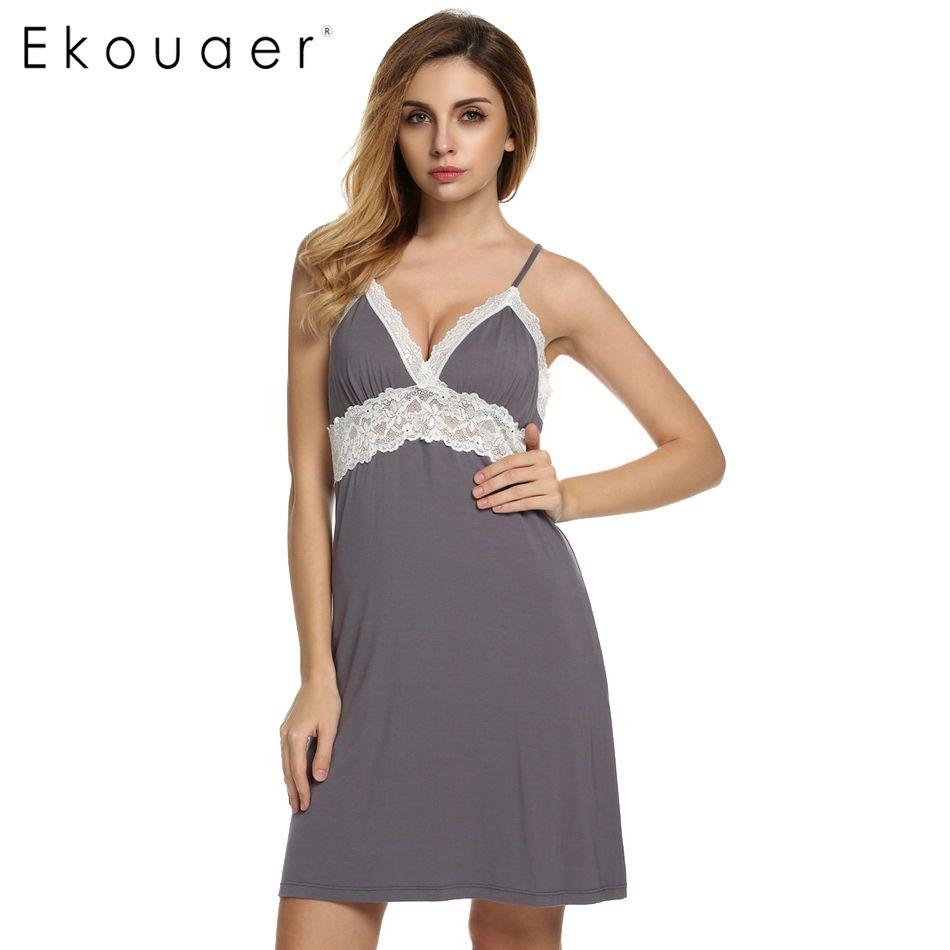 Ekouaer Marque Printemps Automne chemise de Nuit Femmes Sexy De Courroie De Gaine Dentelle Patchwork Lingerie Robe De Nuit Sleepshirts Taille S-XL