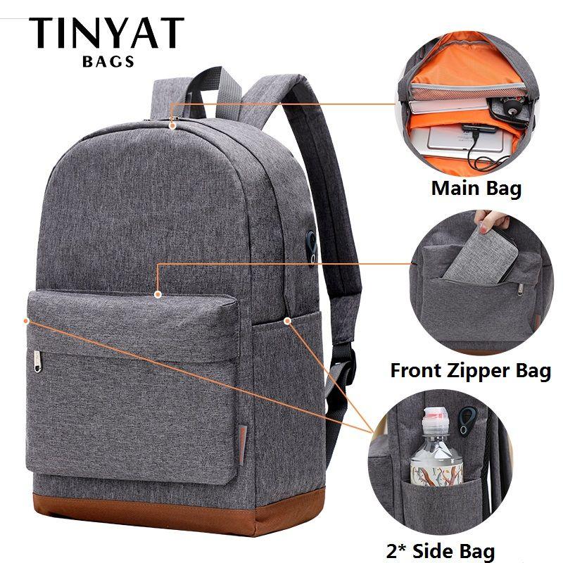 TINYAT Large School Bag Backpack for Teenages mochila 15 inch Laptop Backpack USB Charge Leisure <font><b>Rucksacks</b></font> Travel daypack Grey