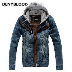 Denyblooy Jeans Musim Dingin Jaket Denim Populer Pria Berkerudung Mantel Pria Beludru Hangat Kasual Jaket Jeans 2322