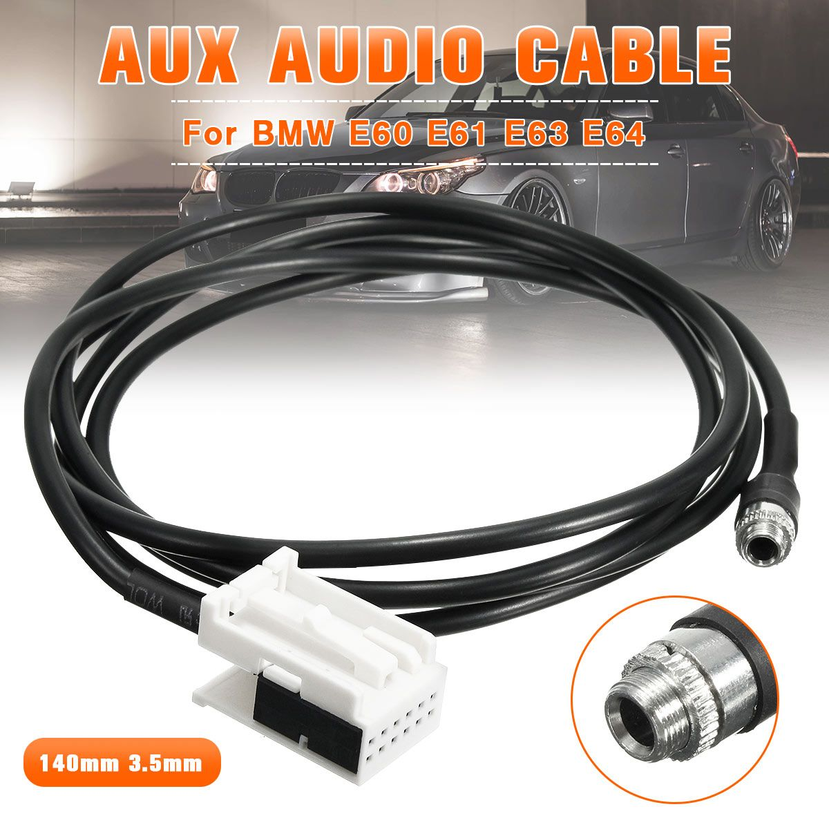 Neue 3,5mm 12PIN Weibliche Schwarz AUX Audio Eingang Kit Adapter Musik Kabel Draht für BMW E60 E61 E63 E64 AUX IN ADAPTER