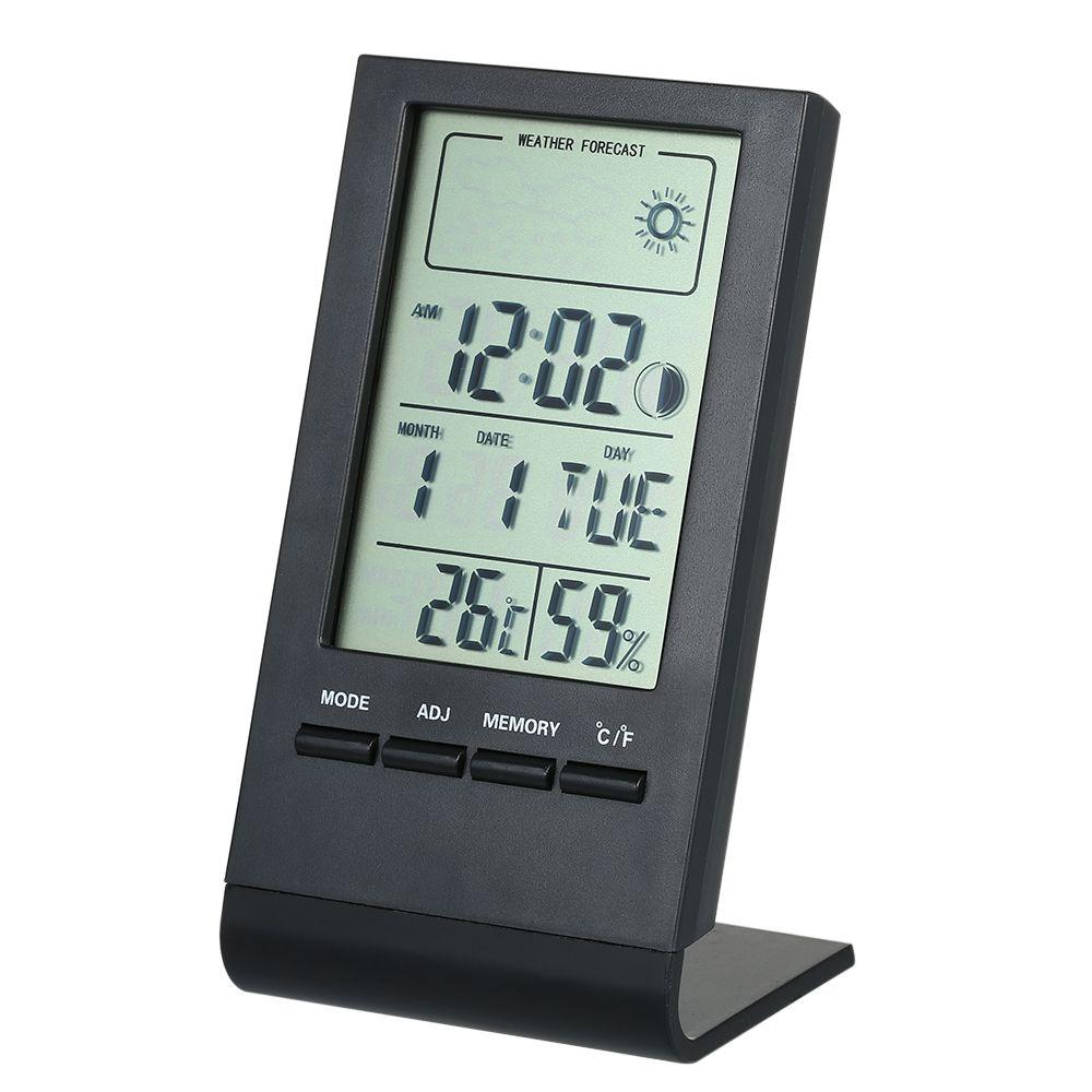 Mini Digital-Thermometer Innen Hygrometer Raum Temperatur Feuchtigkeit Meter Gauge Uhr Wetter Prognose Max Min Wert Display