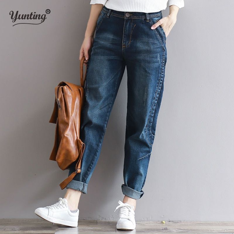 2019 petit ami Jeans Harem pantalon femmes décontracté grande taille lâche coupe Vintage Denim pantalon taille haute Jeans femmes Vaqueros