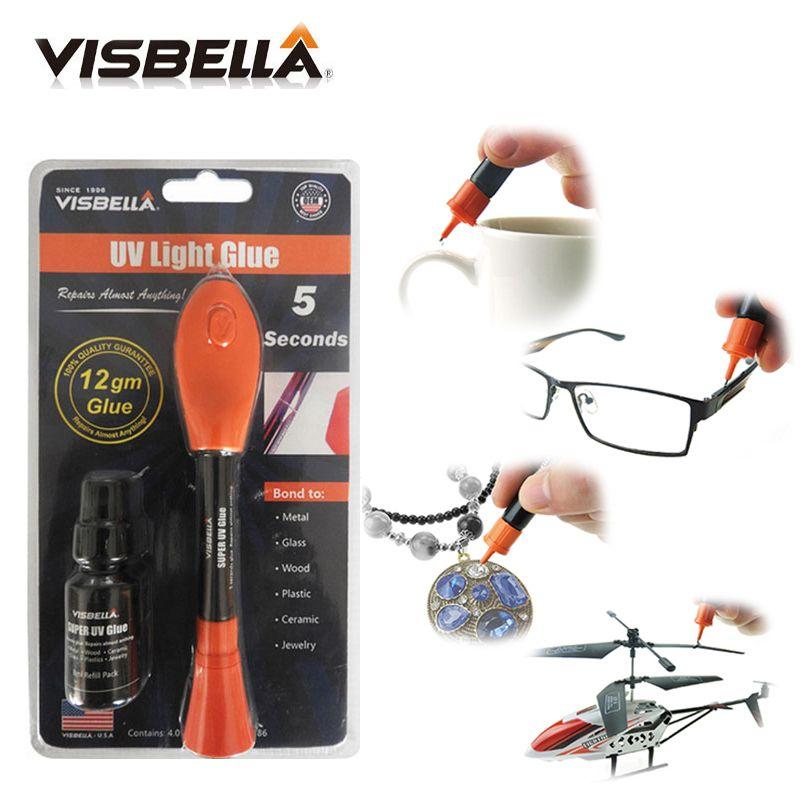 Visbella 12g gros paquet avec 8g recharge bouteille Liquide En Plastique De Soudage colle 5 Deuxième Fix UV Lumière Colle rapidement joint et de réparation