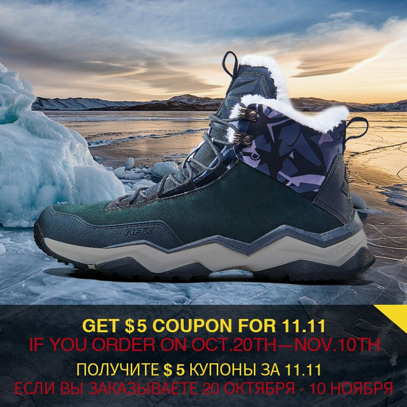 RAX Men's Hiking Boots Mountain Trekking Shoes Snow Boots Warm Outdoor Sneakers for Men Antislip Breathable Comfortable Soft