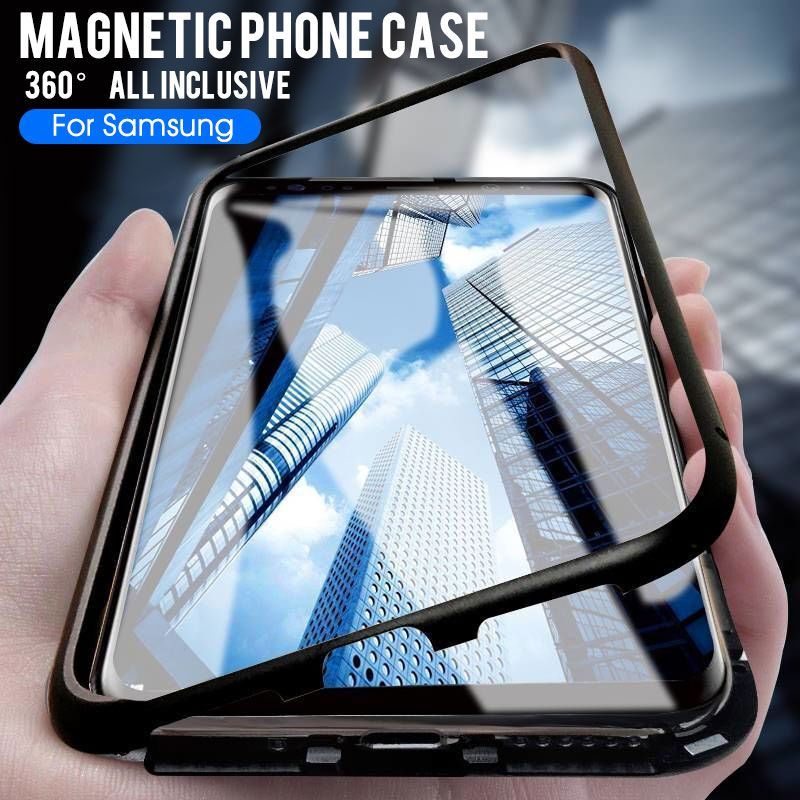 Metal Magnetic Case On For Samsung Galaxy S8 S9 S10 Plus Note8 Note9 S10E A10 A20 A30 A50 M10 M20 M30 Tempered Glass Back Cases