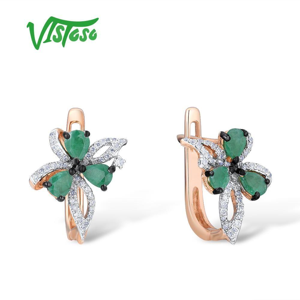 VISTOSO 14K 585 Rose Gold Bowknot Ohrringe Für Frauen Glamorous Elegante Funkelnden Smaragd Diamant Glamorous Trendy Edlen Schmuck