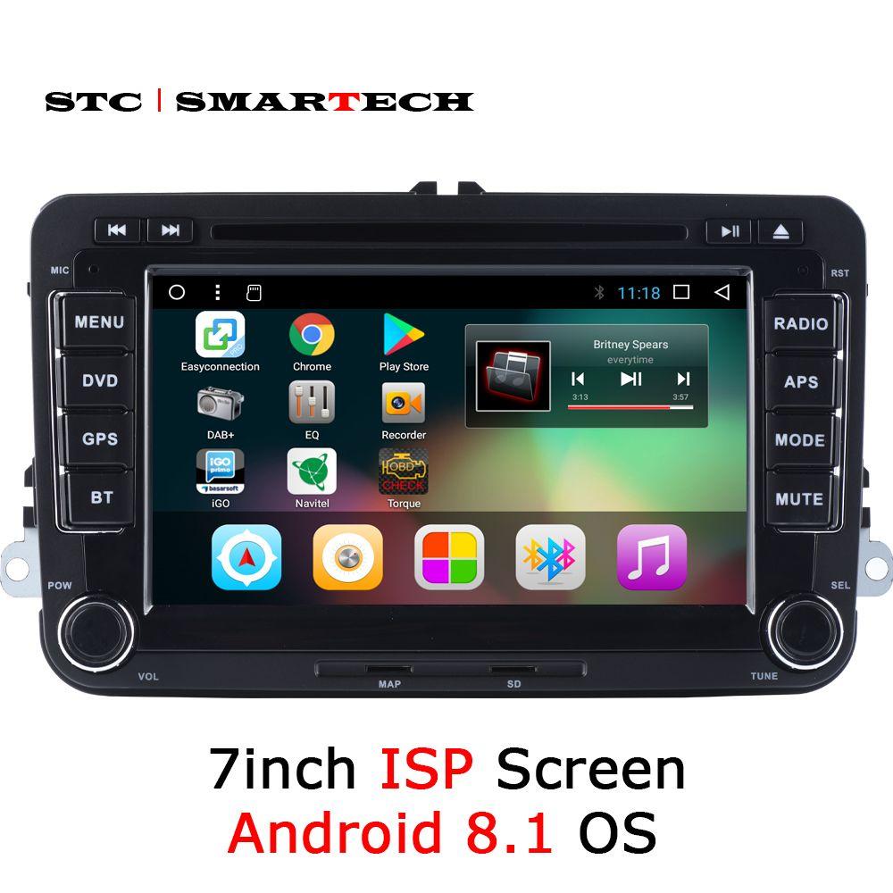 SMARTECH 2 Din Android 8.1 Auto Radio GPS Für VW Volkswagen Golf/Polo/Tiguan/Passat/b7/ b6/Skoda/SITZ, 7 zoll IPS Bildschirm Quad Core