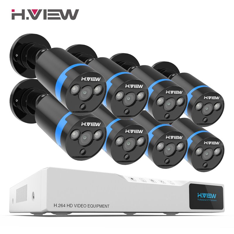 H. view Sicherheit Kamera System 8ch Video Überwachung Kit 8 stücke 1080 P CCTV Kamera 2.0MP Outdoor Video Überwachung Straße