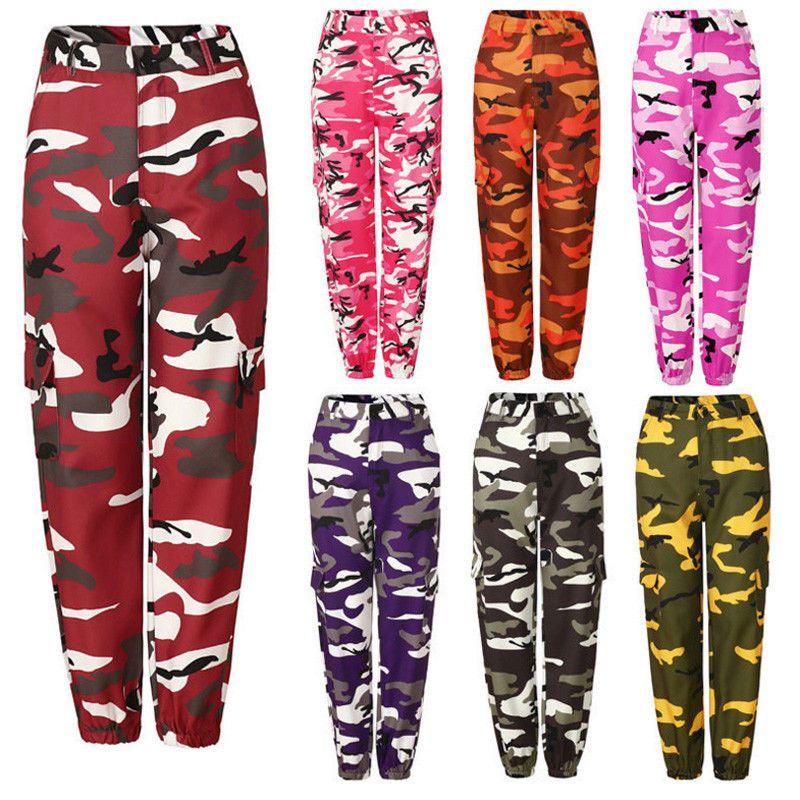 Nouveau femmes Camo Cargo taille haute Hip Hop pantalon pantalon militaire armée Combat Camouflage Long pantalon chaud Capris
