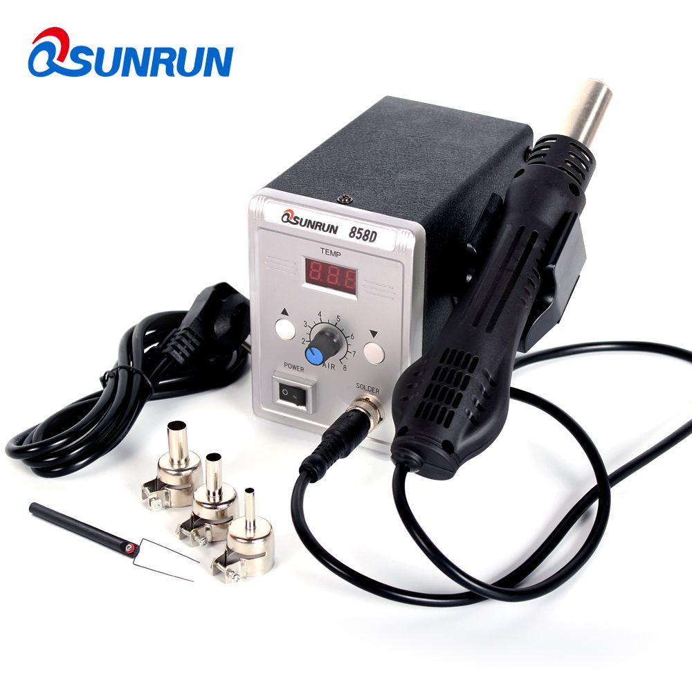 Qsunrun 700 W pistolet à Air chaud 858D ESD Station de soudage LED Station de dessoudage numérique mise à niveau de 858D