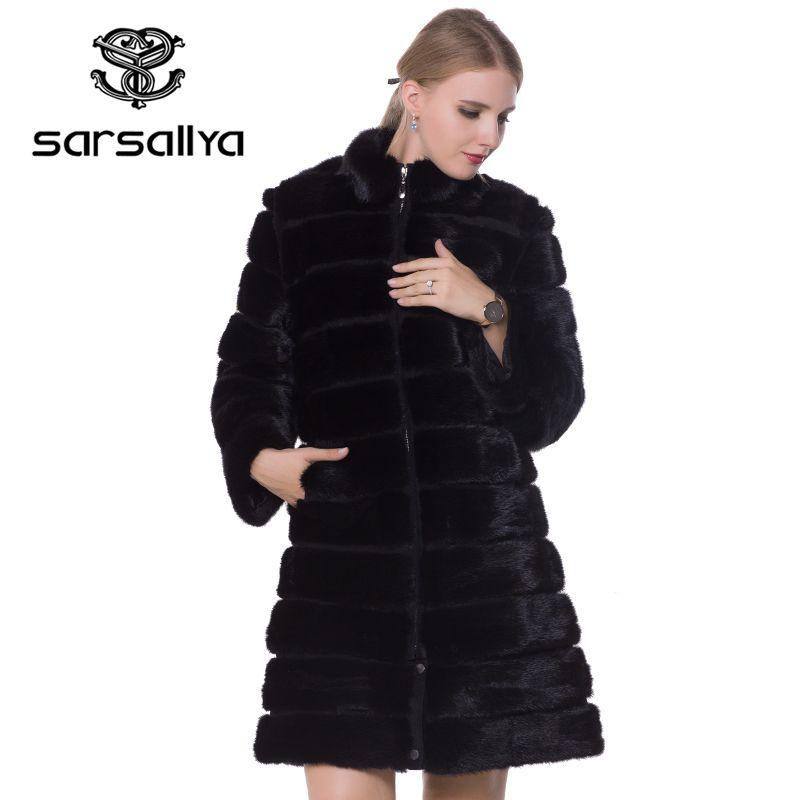 SARSALLYA 2016 new mink coats women real fur coat natural fur coats woman's winter jackets fox fur coat fox fur vest