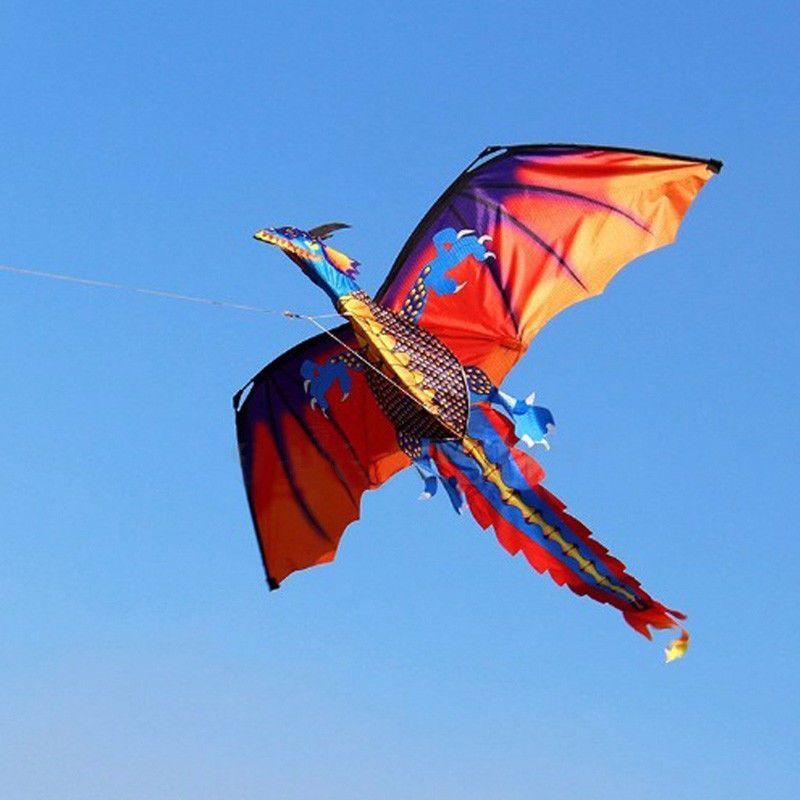 3D Dragon 100M Kite Single Line With Tail Kites Outdoor Fun Toy Kite Family Outdoor Sports Toy Children Kids NEW