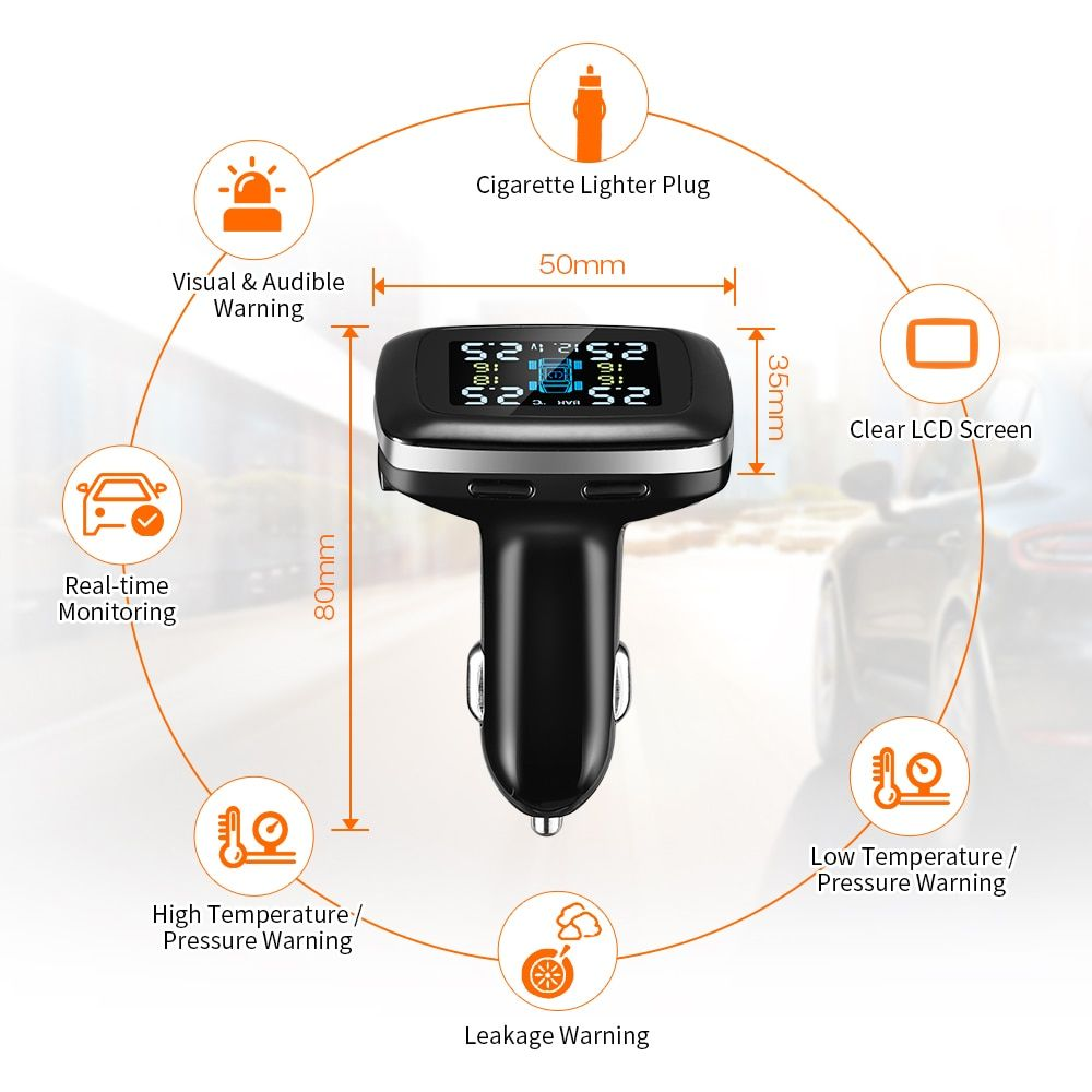 Voiture TPMS prise allume-cigare USB système de surveillance de la pression des pneus 4 capteur externe LCD affichage détecteur de pneus pour Honda Toyota