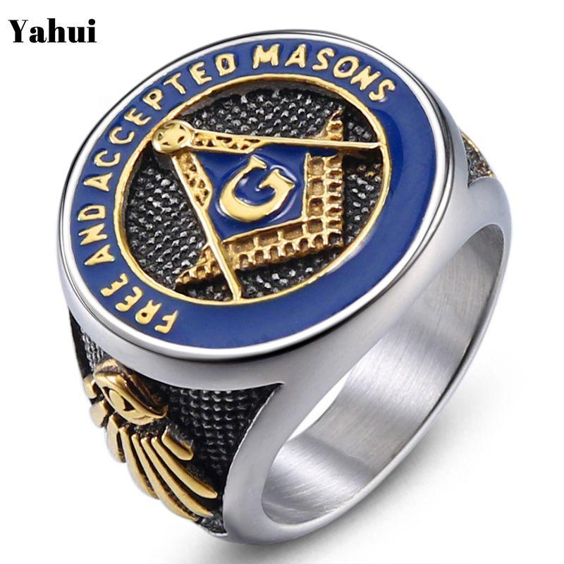 YaHui maçonnique bague initiale hommes anneaux en acier inoxydable délicat bohème anillo calavera bague hommes \ x27s anillo plata bijoux
