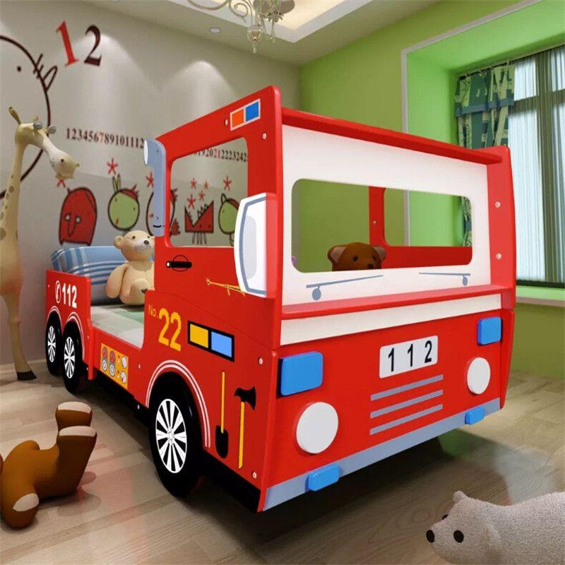 Durable Feuer Lkw Bett Für Kinder 200X90 Cm Rot Cartoon Auto Sharpe Kind Bett Einfache Montage
