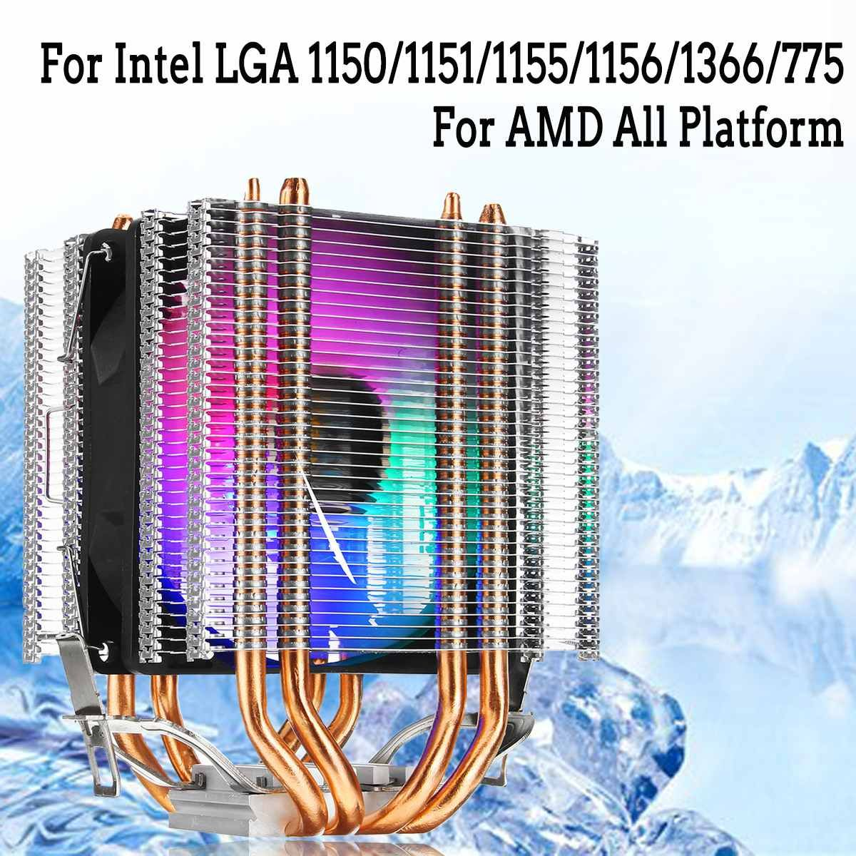 for Intel LAG 1155 1156 775 for AMD Socket AM3/AM2 RGB LED CPU Cooler Fan 4 Heatpipe Dual Tower 12V Cooler Cooling Fan Heat Sink