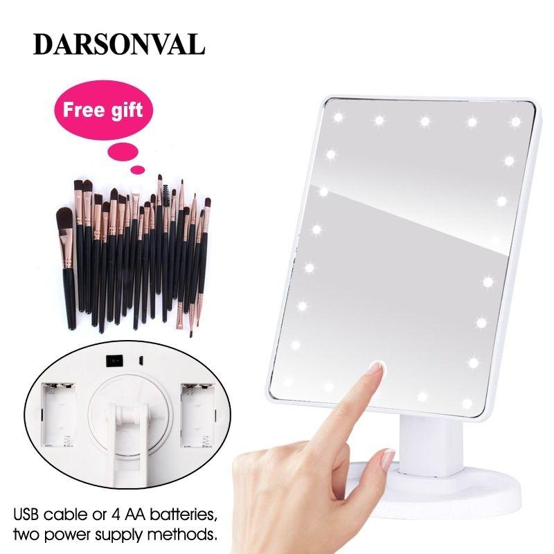 Miroirs de maquillage éclairés professionnels de LED avec lumière LED réglable miroirs d'écran tactile 16/22 pour la brosse de cils de maquillage de beauté