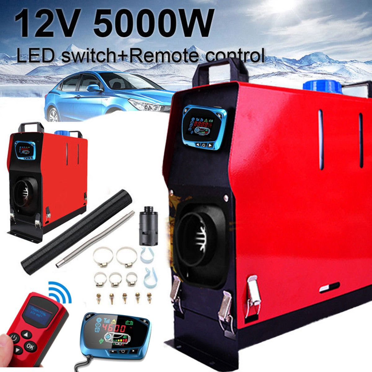 5000W Air diesels Heater 5KW 12V One Hole Car Heater For Trucks Motor-Home Boats Bus +LCD key Switch+ Remote Control