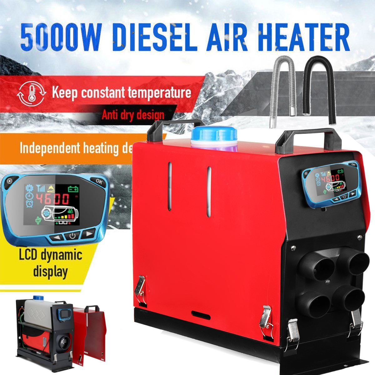 All In One 5000W Air diesels Heater 5KW 12V Car Heater For Trucks Motor-Homes Boats Bus +Newest LCD key Switch