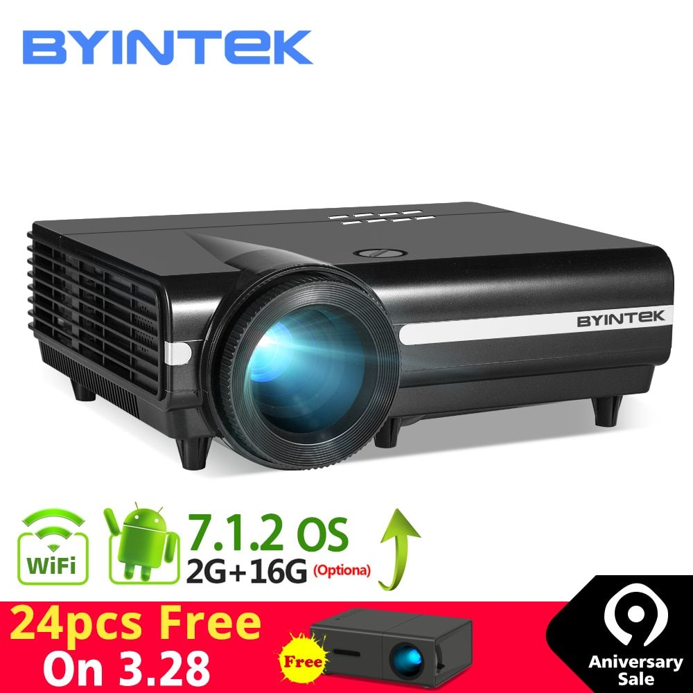 BYINTEK MOON BT96Plus Prise en charge du Projecteur 4K Smart Video LED Wi-Fi Full HD 1080P