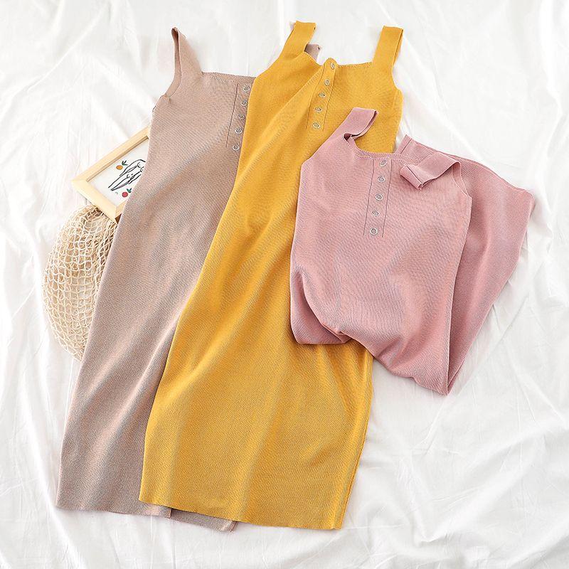 2019 été femmes Slim tricot robe casual mode coréenne Sexy tricoté robe d'été sans manches robe