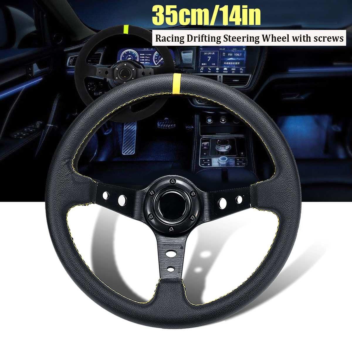 14 zoll 350mm Deep Dish Treibt Lenkrad Universal Leder Aluminium Auto Auto Racing Sport Lenkrad Zubehör