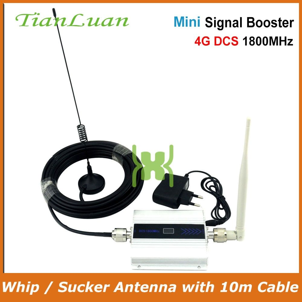 TianLuan 2G DCS 1800MHz Mobile Phone Signal Booster 4G 1800 MHz Signal Repeater Cell Phone Amplifier with Whip / Sucker Antenna