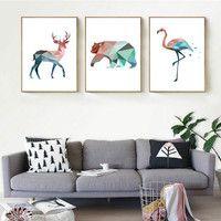 Nórdicos geométrica animales de ciervos pintura oso Flamingo aceite pintura cartel, arte de pared para sala de sin marco