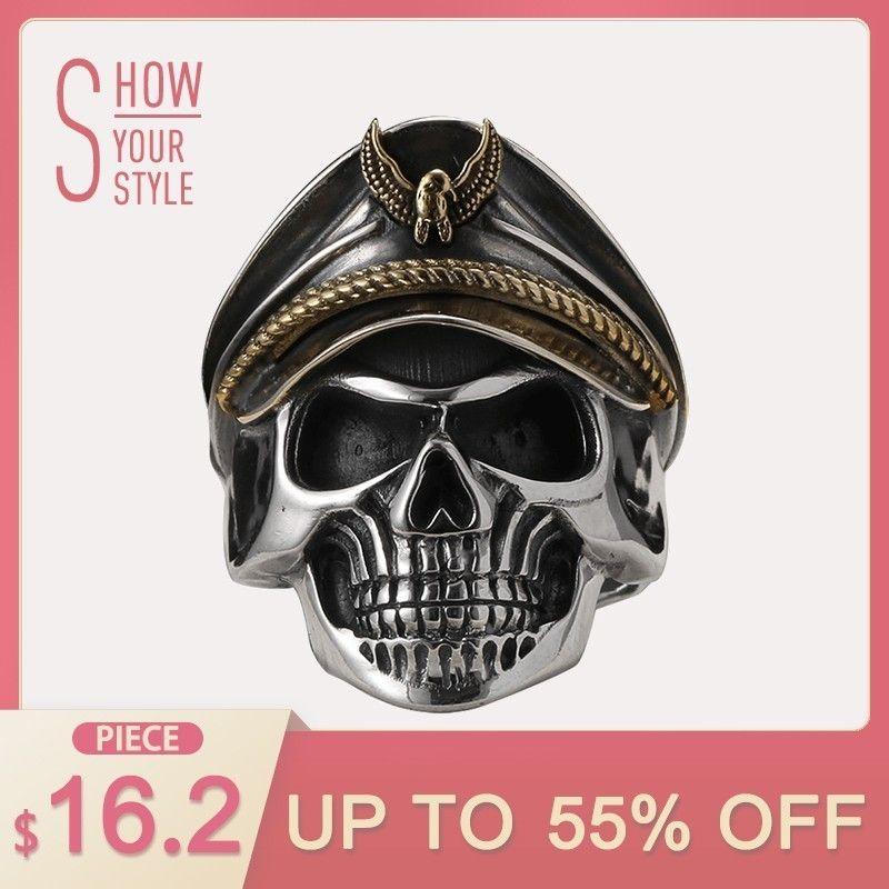 ZABRA 925 Silver World War II Soldier Anniversary Mens <font><b>Rings</b></font> Punk Rock Vintage Adjustable Size Skull <font><b>Ring</b></font> Biker Men Jewelry