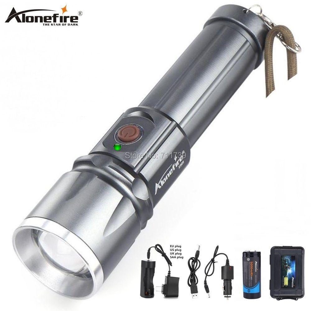 AloneFire X900 CREE XML T6 LED Zaklamp lampe de poche en aluminium torche Zoom lanterne étanche lanterne randonnée 26650 batterie USB charge