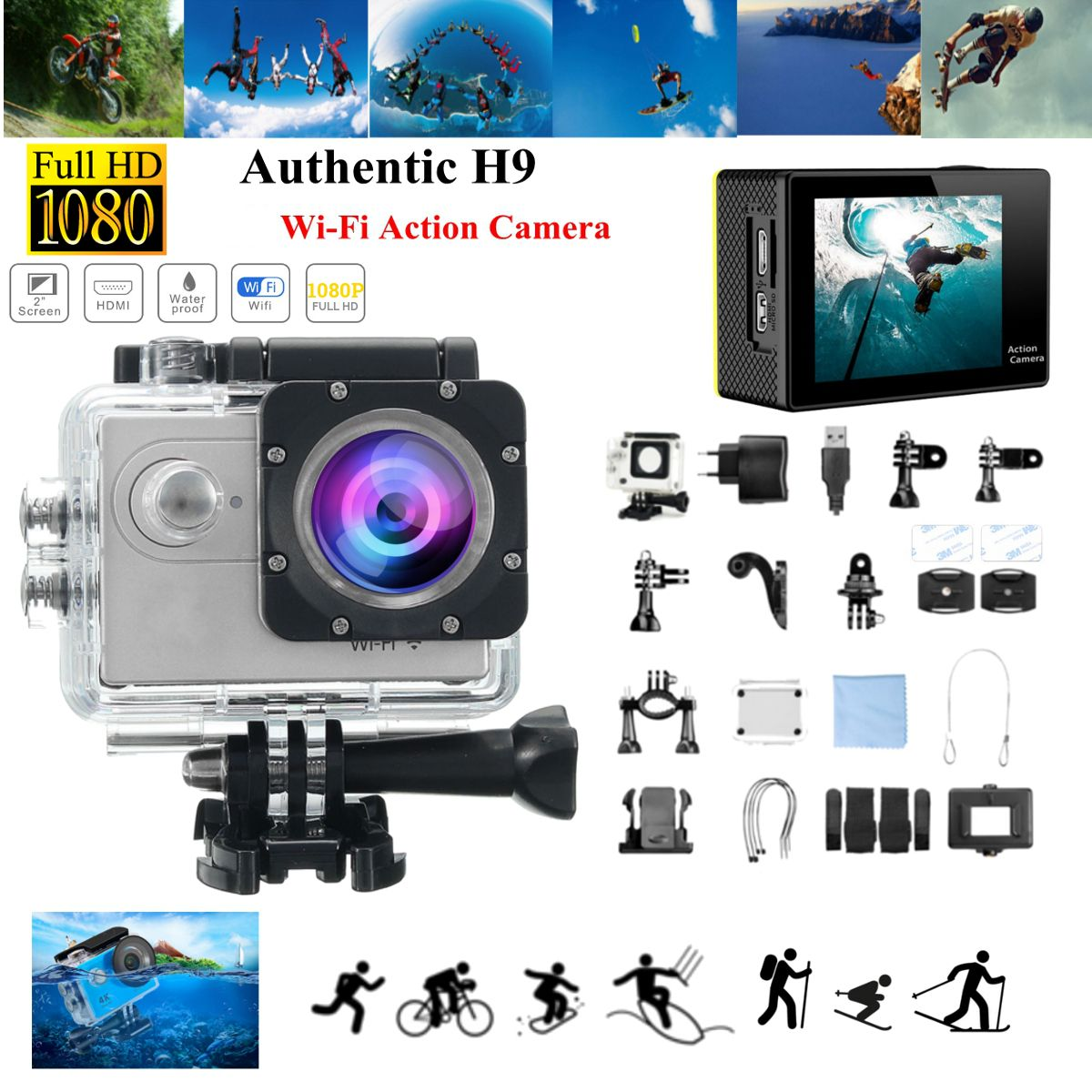 H9R / H9 SE HD 1080P WIFI 60FPS Action Sport Camera 170 degree Wide Camcorder