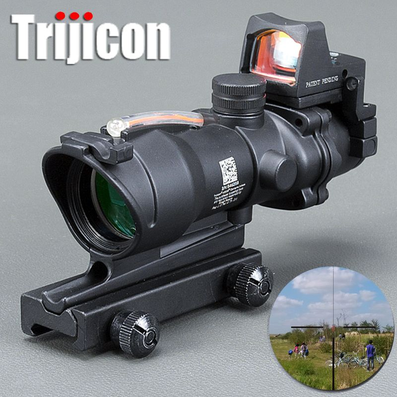 Acog 4x32 Red Fiber Source Real Fiber Scope W/ Rmr Micro Red Dot Sight Marked Version Black Riser Optical Instrument