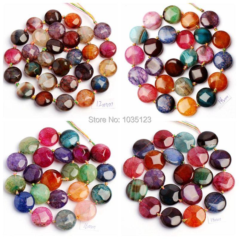 Livraison gratuite 12, 14.16.18, 20mm jolie facette fissuré multicolore Agates forme de pièce de monnaie perles en vrac brin 15